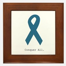Conquer All. Teal Ribbon Framed Tile
