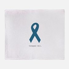 Conquer All. Teal Ribbon Throw Blanket