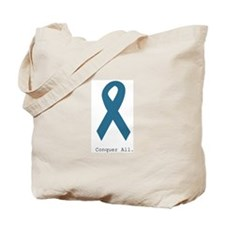 Conquer All. Teal Ribbon Tote Bag
