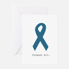 Conquer All. Teal Ribbon Greeting Cards