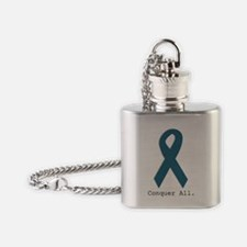 Conquer All. Teal Ribbon Flask Necklace