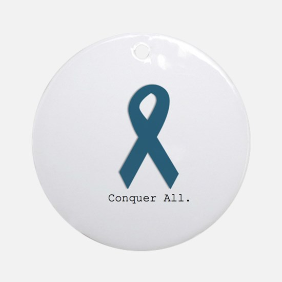 Conquer All. Teal Ribbon Round Ornament