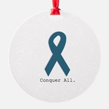 Conquer All. Teal Ribbon Ornament