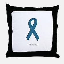 Strong. Teal Ribbon Throw Pillow