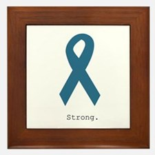 Strong. Teal Ribbon Framed Tile
