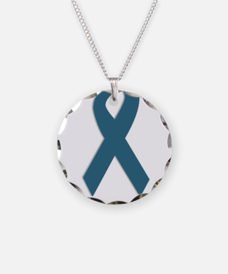 Strong. Teal Ribbon Necklace Circle Charm