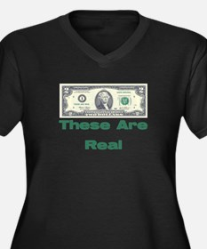 These are Real Women's Plus Size V-Neck Dark T-Shi
