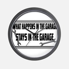 garage stays in garage Wall Clock