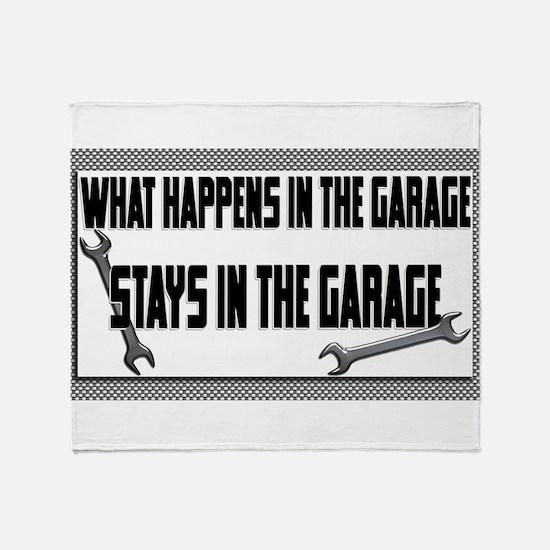 garage stays in garage Throw Blanket