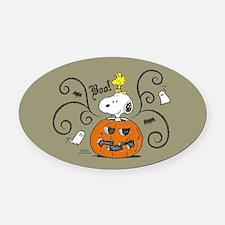 Peanuts Snoopy Sketch Pumpkin Oval Car Magnet