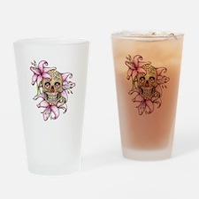 Girlie Pink Sugar Skull Drinking Glass