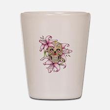Girlie Pink Sugar Skull Shot Glass