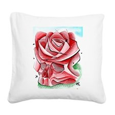 Cute Rose line Square Canvas Pillow