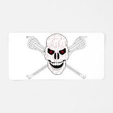 Bloody Lacrosse Skull Aluminum License Plate