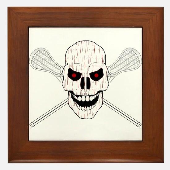 Bloody Lacrosse Skull Framed Tile