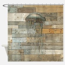 Vintage Jellyfish Rustic Modern Shower Curtain