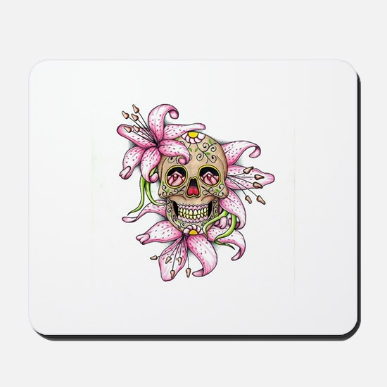 Pink Rocker Sugar Skull Mousepad