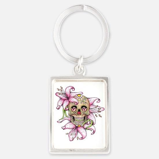 Pink Rocker Sugar Skull Keychains