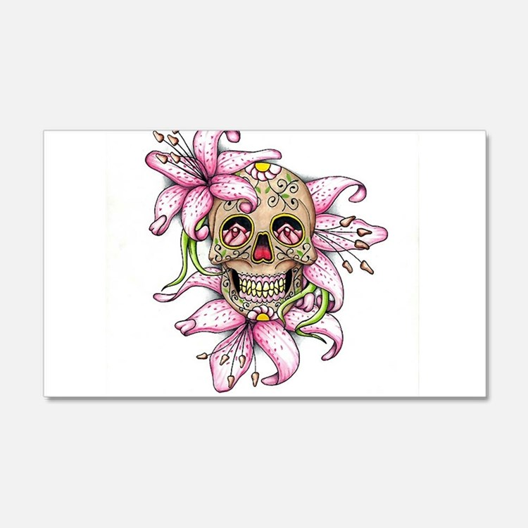 Pink Rocker Sugar Skull Wall Decal