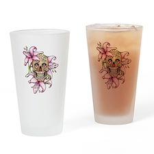Pink Rocker Sugar Skull Drinking Glass