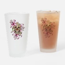 Pink Rocker Sugar Skull Drinking Glass