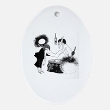 Funny Womens white Oval Ornament