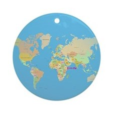 world map Round Ornament