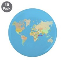 "world map 3.5"" Button (10 pack)"