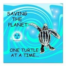 """One Turtle at a Time Square Car Magnet 3"""" x 3"""""""