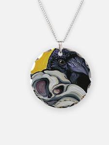 Raven Skull Goth Halloween Art Necklace