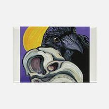 Raven Skull Goth Halloween Art Magnets