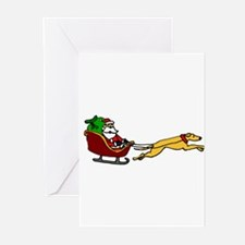 Christmas Sleigh with Greyhound Dog Greeting Cards