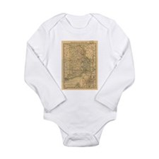 Vintage Map of Rhode Island (1875) Body Suit