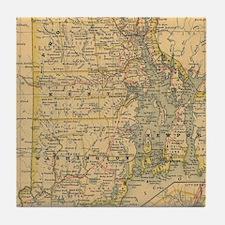 Vintage Map of Rhode Island (1875) Tile Coaster