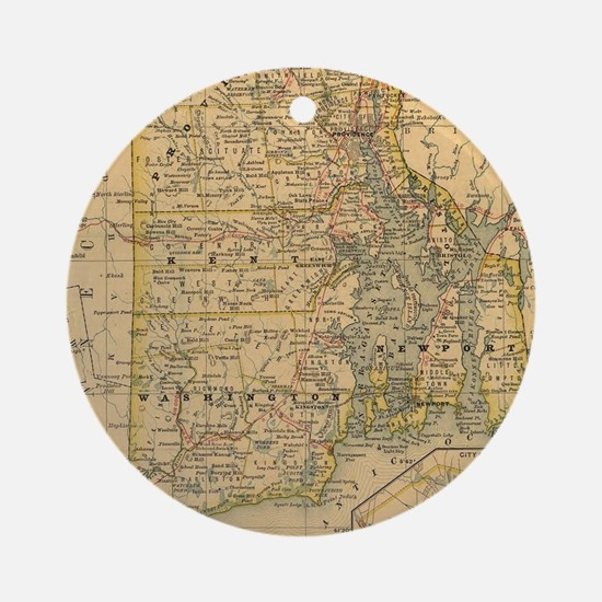 Vintage Map of Rhode Island (1875) Round Ornament