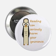 "Cute Book Owl Reading Quote 2.25"" Button (10"