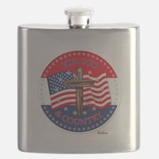 FOR GOD And COUNTRY With Cross And Flag Flask