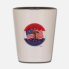 FOR GOD And COUNTRY With Cross And Flag Shot Glass