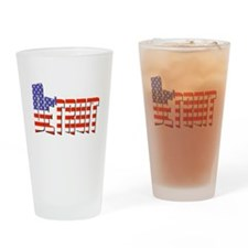 Patriotic Detroit Drinking Glass