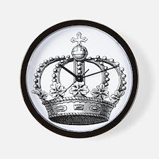 King's Crown Black White Wall Clock