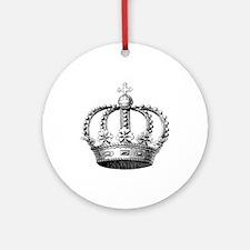 King's Crown Black White Round Ornament