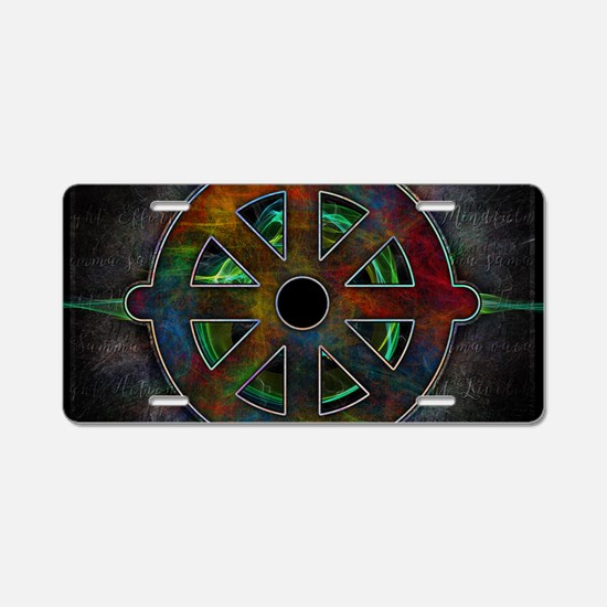 Buddhas Dharma Wheel Aluminum License Plate