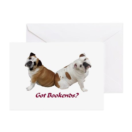 Bulldog Bookend Greeting Cards (Pk of 10)