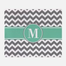 Gray and Teal Chevron Monogram Throw Blanket