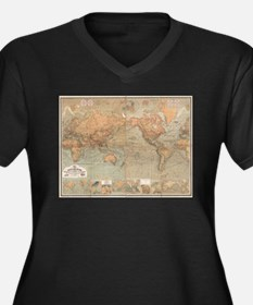Vintage Map of The World (1870) Plus Size T-Shirt