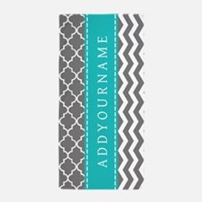 Dark Gray and Blue Chevron Personalize Beach Towel