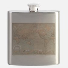 Vintage Map of The World (1870) Flask