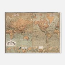 Vintage Map of The World (1870) 5'x7'Area Rug
