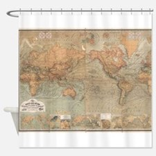 Vintage Map of The World (1870) Shower Curtain
