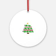 Fun Turtle Christmas Tree Art Round Ornament